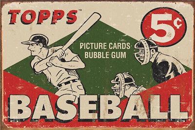Metal Tin Sign topps baseball  Decor Bar Pub Home Vintage Retro