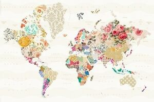 WORLD MAP IN PATTERNS - VINTAGE LOOK - POSTER (91x61cm)  NEW WALL ART
