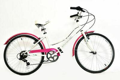 "KS Cycling Cruiser Girls Junior Traditional Bicycle 24"" Wheel 6 Speed White/Pink"