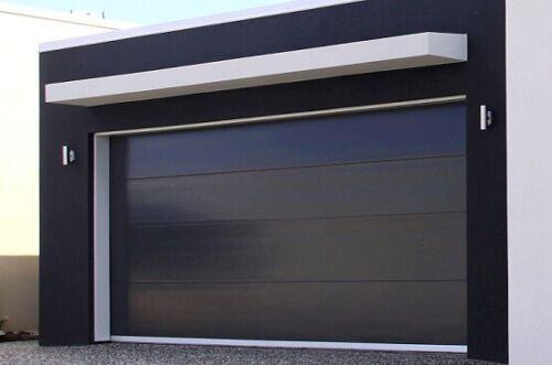 Modern Black Flush Textured Panel Steel Garage Door [8