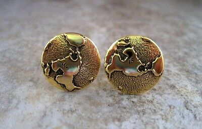 Handmade Antique Gold World Steampunk Cuff Links