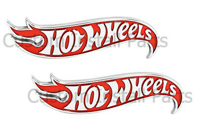 Hot Wheels Red Chrome Side Fender Lid Hood Badge Emblem Decal Sticker PAIR 2x