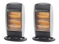 2 X HALOGEN HEATER 400W/800W/1200W THREE POWER SETTINGS OSCILLATES 70 DEGREES