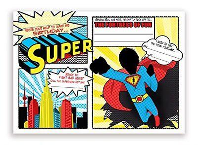 Superhero LARGE Invitations - 10 Invitations 10 Envelopes](Superhero Invitations)