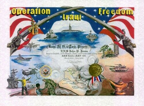 """Military.: """"Operation Iraqi Freedom """": 15.5 x 21, full color certificate"""