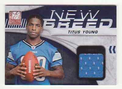 2011 ELITE TITUS YOUNG NEW BREED ROOKIE WORN JERSEY #001/299 DETROIT LIONS RC #1 image