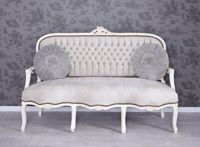 SALONSOFA BAROCK SOFA VINTAGE SITZBANK Couch Shabby Chic Polstersofa Samt