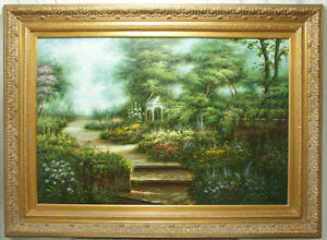 Large Original Oil on Canvas Painting Ornate Frame