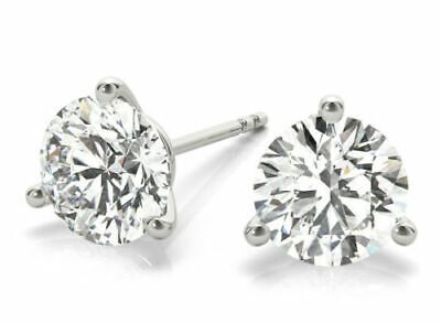 2 ct Round Diamond Platinum Stud Martini Style Earrings GIA 3x Excellent G SI1