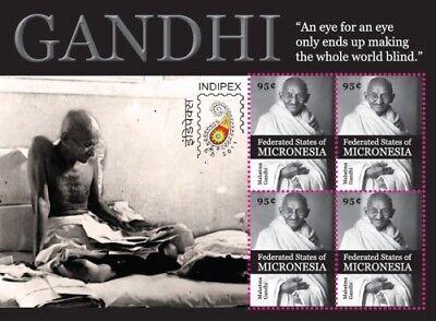 Micronesia- MAHATMA GANDHI - Indipex 2011 Sheet of 4 Stamps MNH