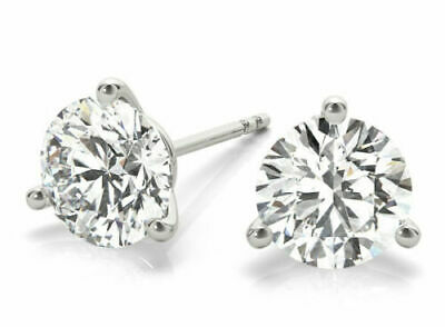 0.80 carat Round Diamond Platinum Studs Martini Style Earrings GIA cert E-F VS