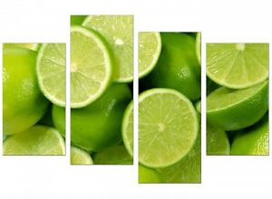 Imported (UK) 4pc Canvas Panel Prints - Limes (Ready to Hang)