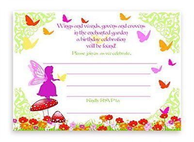- Garden Fairy LARGE Invitations - 10 Invitations 10 Envelopes