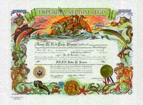 "U.S.N.: ""Shellback"": 15.5 x 21, full color cert. (Personalized)"