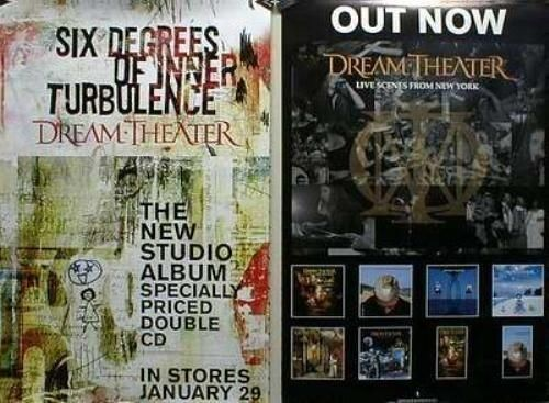 Dream Theater 2001 6 degrees/NYC 2 sided promotional poster Mint New Old Stock