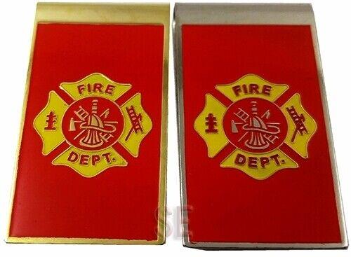 Firefighter Fire Rescue Money Clip FIRE DEPT Maltese Embossed w Baked on Enamel