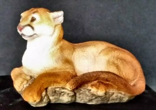 Stone Critters Mountain Lion/Cougar/Puma Figurine on Rocks - NIB