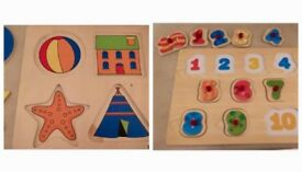 2 children's wooden number & shape puzzles
