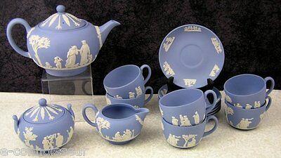 (17) Pc. Blue Wedgwood Jasperware Tea Set Teapot, Sugar, Creamer, Cups & Saucers