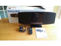 PHILIPS DCM292 MICRO MUSIC SYSTEM, CLOCK, FM RADIO, IPOD DOCK, CD, BOXED WITH MANUAL & REMOTE