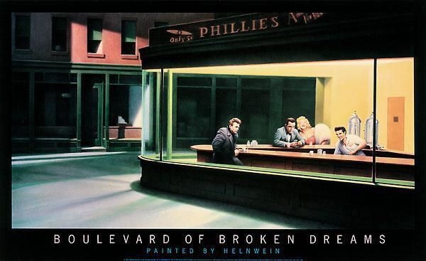 "Boulevard of the Broken Dreams ""Nighthawks"" by Gottfried Helnwein- 22 X36 Inches"