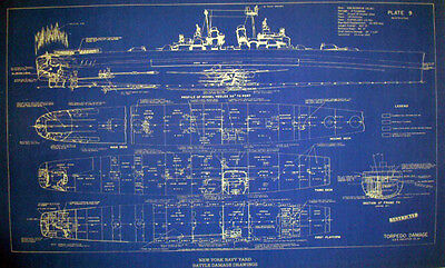 US Navy WW2 War Damage Shipyard Repair Blueprint USS Houston CL81 19x32 (150)