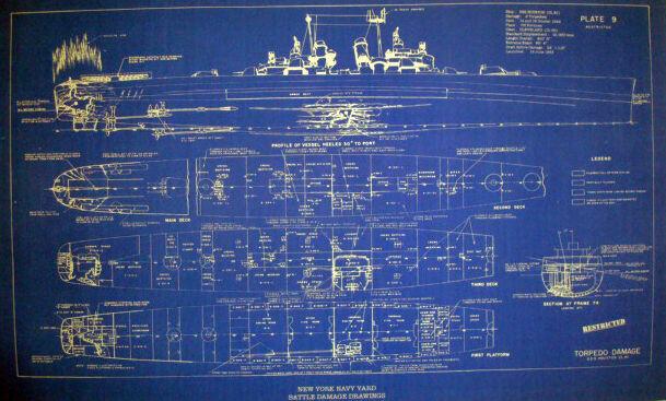 US Navy WW2 War Damage Shipyard Repair Blueprint USS Houston CL81 19x32 (150)