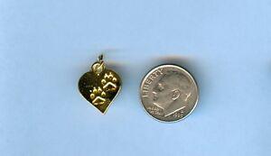 24kt Gold Plated 3D Dog Heart w/ paw prints Charm