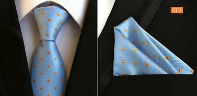 Light Blue and Orange Polka Dot Handmade 100% Silk Wedding Tie Pocket Square Set - Blue And Orange Wedding