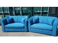 SALE!! EX DISPLAY NEW Designer 2 x 2 Seater Sofa Set in Blue DELIVERY AVAILABLE