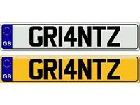 GRANT - A VERY POPULAR FIRST NAME OR SURNAME ON A PRIVATE NUMBER PLATE FOR SALE