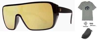 NEW Electric Blast Shield Black Ohm Gold Chrome Mens Mask Lens Sunglasses Rt$140 Electric Gold Lens