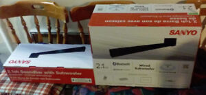 Sanyo 2.1 Channel Soundbar with Wired Subwoofer $100