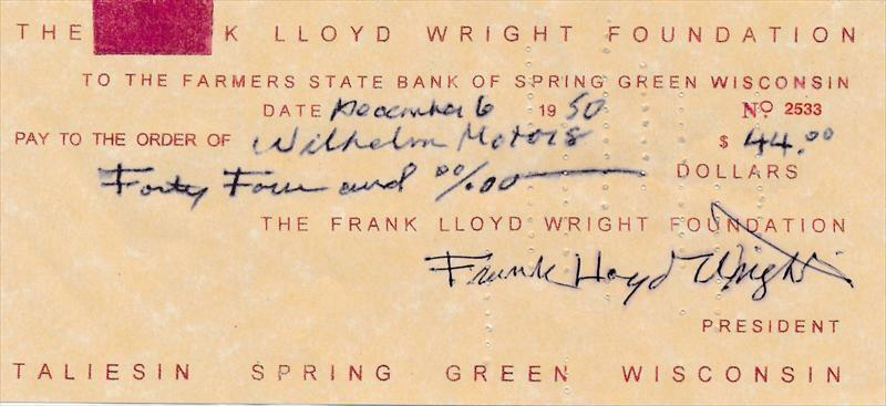 Frank Lloyd Wright- Signed Bank Check from 1950