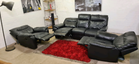 DFS - Black Leather Recliner 3 Seater & 2 Armchairs - Full Sofa Set