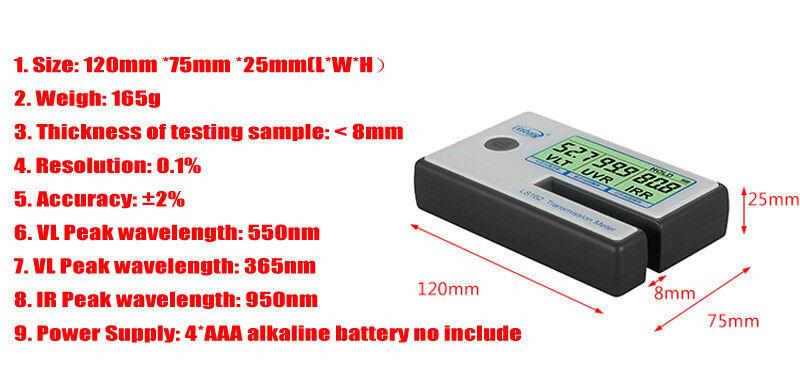 LS162 Window Tint Meter Solar Film Transmission Meter,Filmed Glass Tester