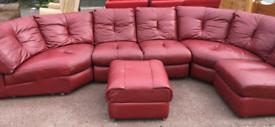 Oxblood corner settee