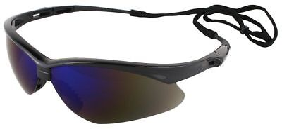 Jackson Nemesis Safety Glasses Black Frame Blue Mirror Lens