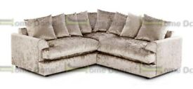 *14-DAY MONEY BACK GUARANTEE!** SAME/NEXT DAY Elaine Luxury Crushed Velvet Settee or 3 and 2 Set