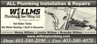 Willms Plumbing is looking for Journeyman and apprentice plumber