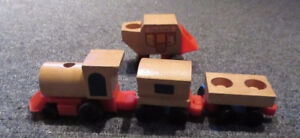 1970's Fisher Price Wooden Little People Train & Stage Coach