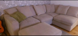 Corner sofa and poufee