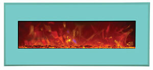 "Amantii 43"" Electric Fireplace with Coastal Blue face and glass"