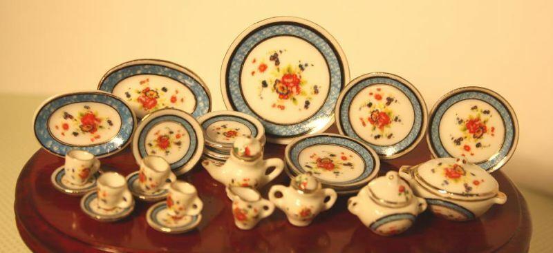 SaLe!!!  Dollhouse Miniature Blue Band and Floral Porcelain Dinner Set
