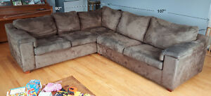 Brown Sectional Sofa Couch with Pull-Out Bed