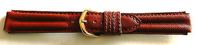(18mm FLEURUS - BROWN TWIN PADDED STITCHED CALF LEATHER WATCH BAND / STRAP)