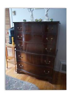 headboard, dressers (2) mahogany