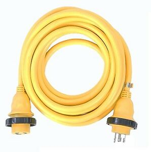 AMP UP 30A 125V x 25' Marine Shore Power Boat Cord Yellow 30 25 volt foot ft