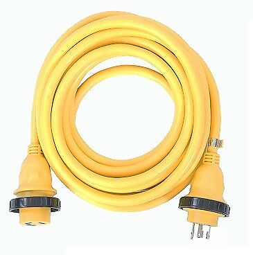 125v Marine (AMP UP 30A 125V x 25' Marine Shore Power Boat Cord Yellow 30 25 volt foot ft NEW)