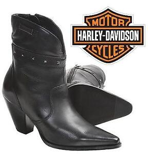 NEW HARLEY DAVIDSON BOOT WOMEN'S 10 D85441 206994441 DIANE BLACK LEATHER SHOES